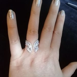 Wings silver or rose gold adjustable ring